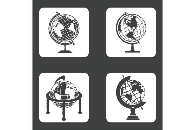 Earth globe icons set example image 1