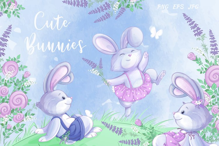 Cute Bunnies and Flowers
