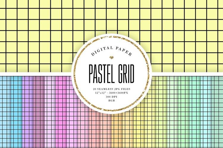 Black Grid Seamless Patterns - Tileable Pastel Backgrounds