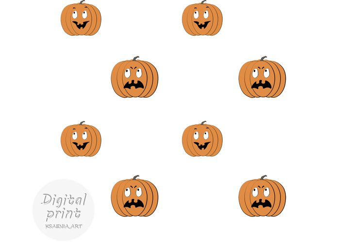 Cute Halloween Digital paper Cartoon angry and funny pumpkin example image 1