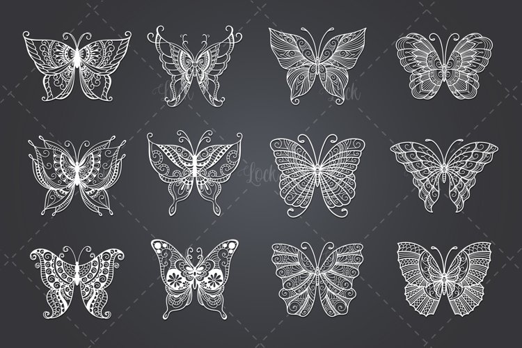 12 Set Butterflies SVG files for Silhouette and Cricut example image 1