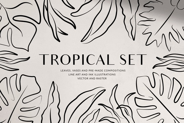 Tropical Set - Leaves & Vases example image 1