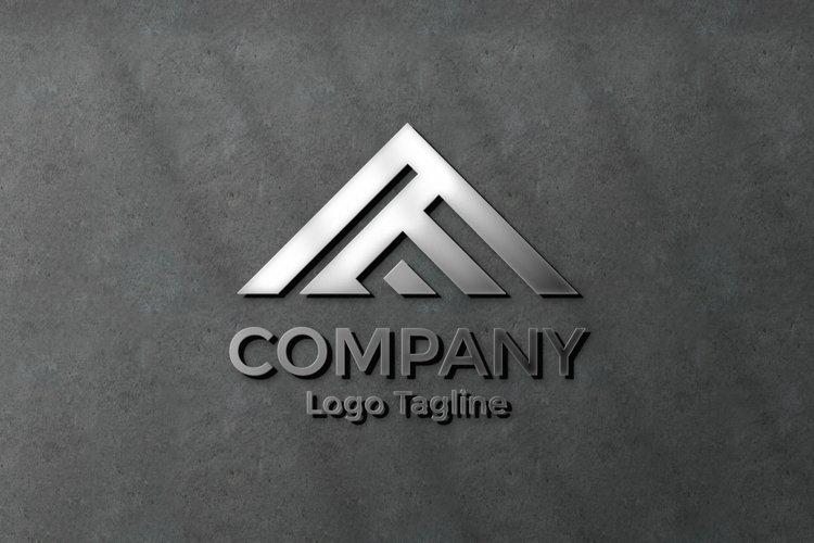 Elegant silver logo mockup on black concrete wall example image 1