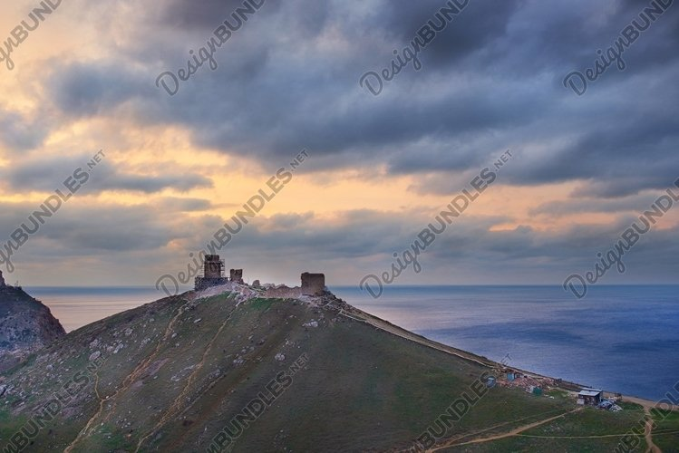 Ancient greek castle on the coast. example image 1
