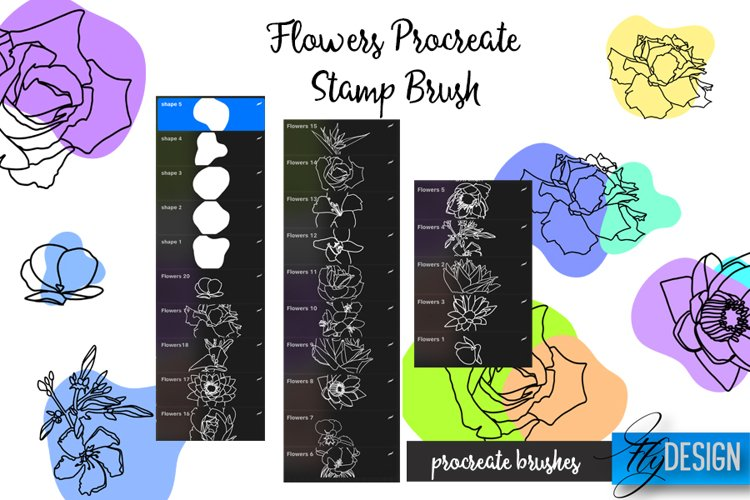 Flowers Procreate Brush. Floral Stencil. Procreate Stamp example 1