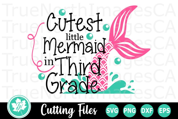 Cutest Little Mermaid in Third Grade - A School SVG Cut File example image 1