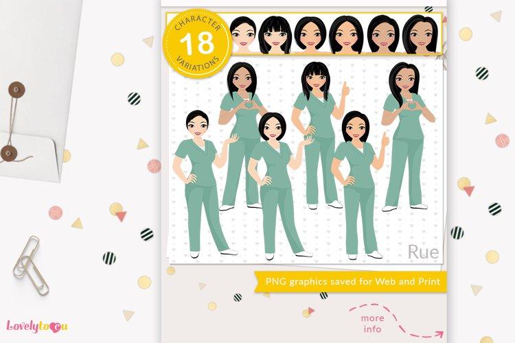 Asian nurse clipart, healthcare worker avatar, LVX14 Rue