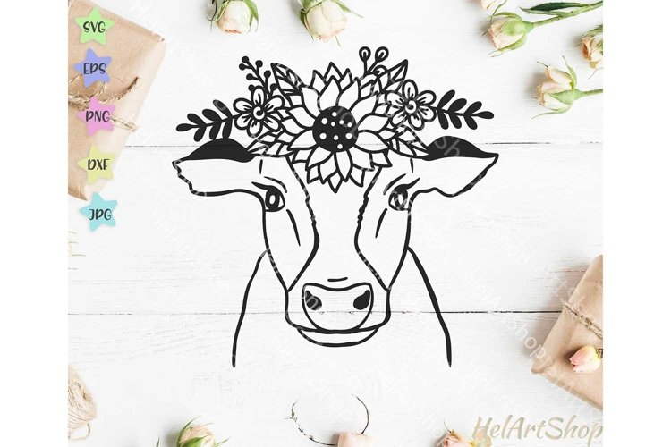Cow With Crown SVG, Cow Flowers SVG, Cow face SVG example image 1