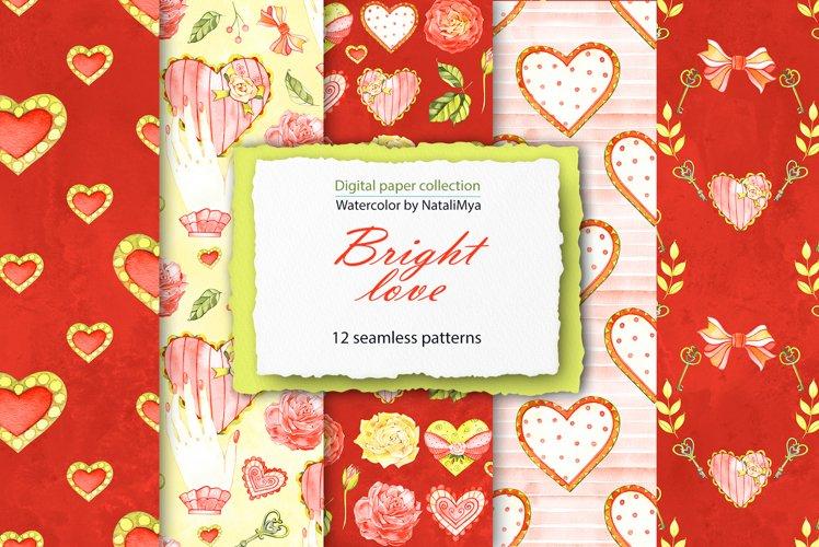 Watercolor hearts digital paper pack example image 1