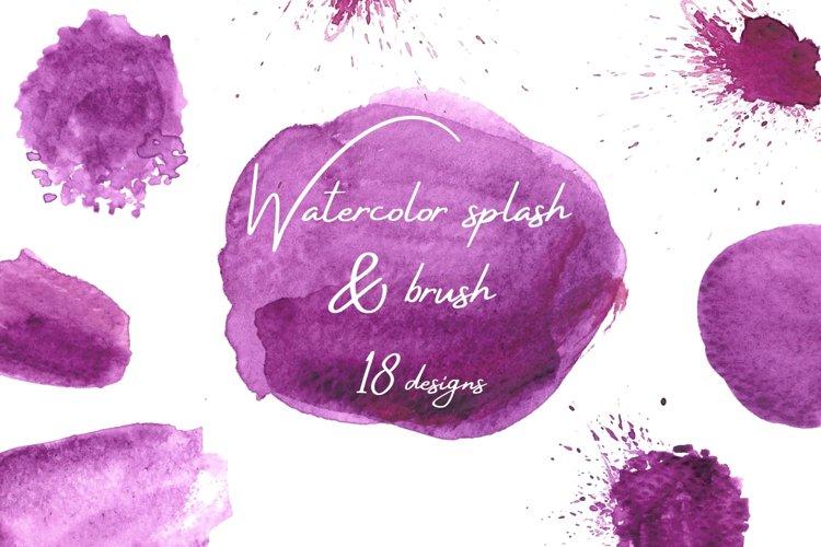 Purple Watercolor Splash Clipart, Purple Watercolor Brushes example image 1