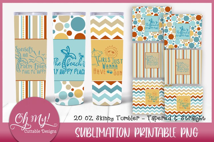Beach 20oz Skinny Tumbler Bundle Sublimation Designs
