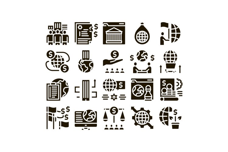Global Business Finance Strategy Icons Set Vector example image 1