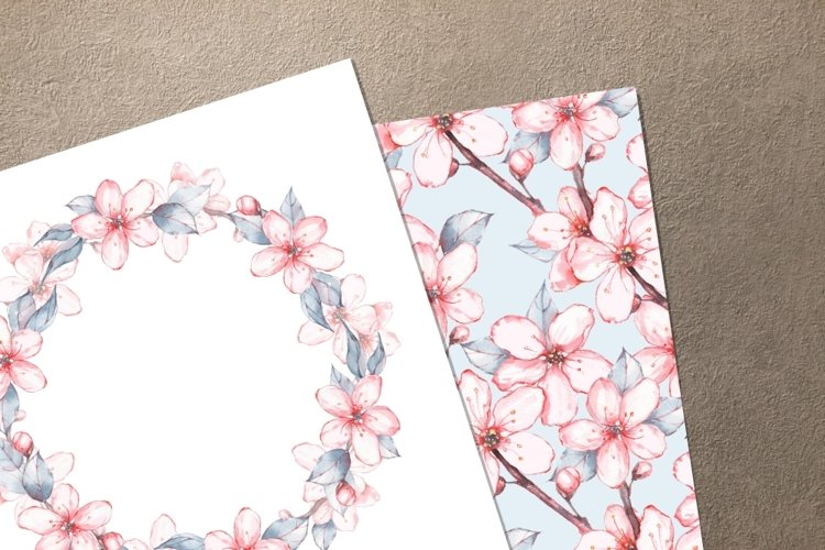Japanese garden set 1. Watercolor example image 1