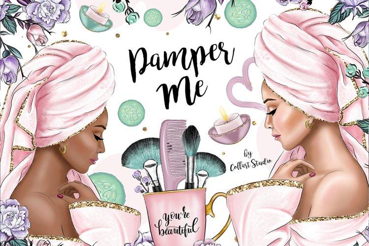Spa Relax Pamper Clip art, Makeup illustrations, Me Time