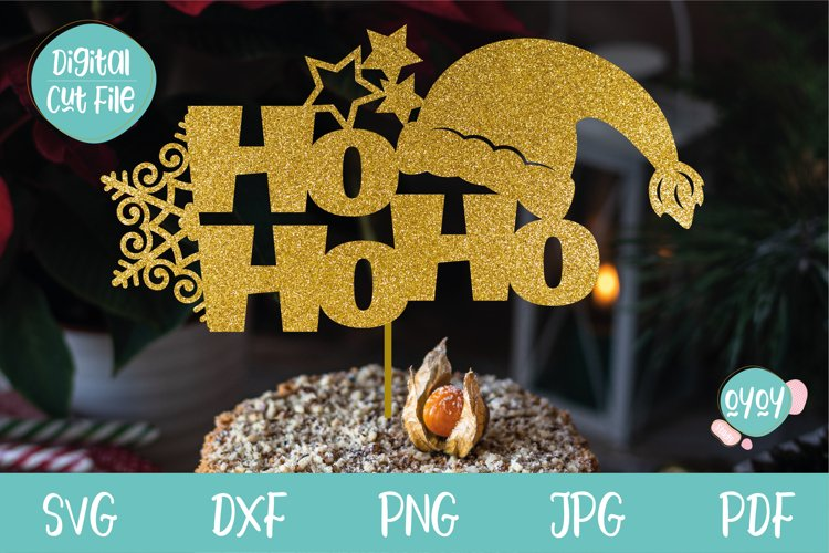 Christmas Cake Topper SVG with Santa Hat example image 1