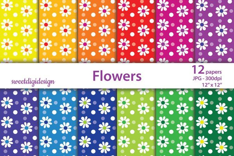 Daisy flower digital paper, rainbow backrounds example image 1