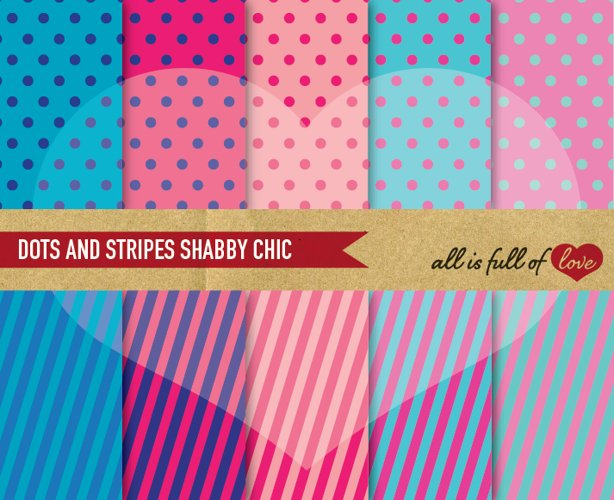 Pink and Blue Background Patterns Polka Dots and Stripes Digital Paper Pack  example image 1