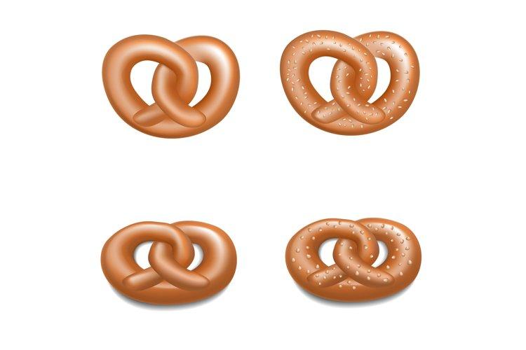German pretzel icon set, realistic style example image 1