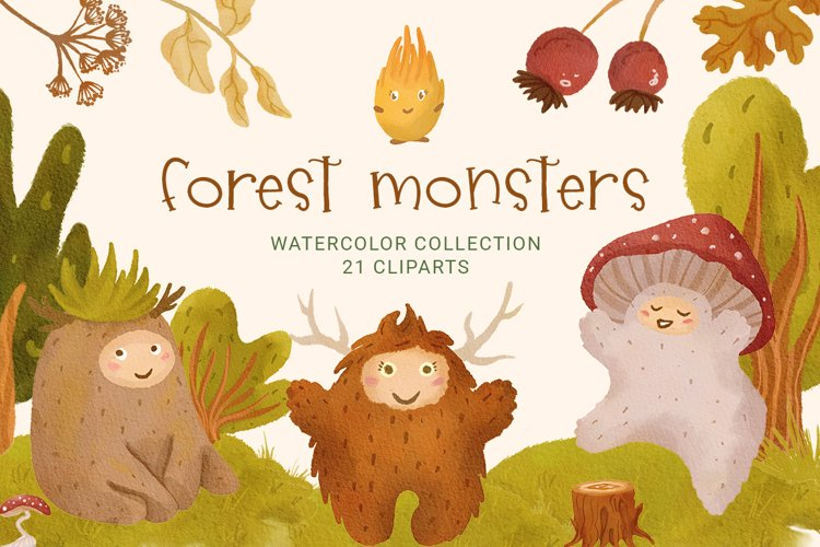 Cute Cartoon Forest Monsters Clipart