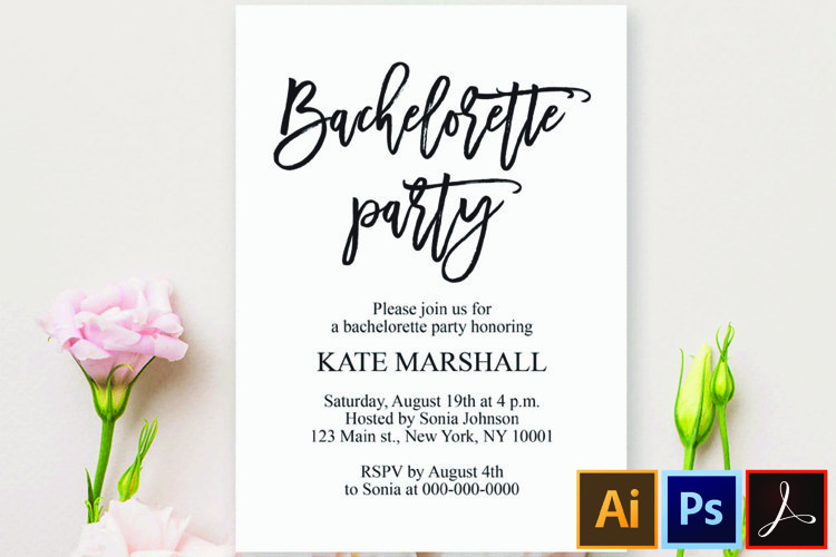 Bachelorette party invitation template Bachelorette party example image 1