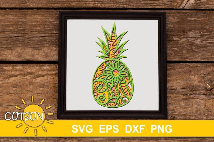 Pineapple SVG | 3D Layered Mandala Pineapple SVG cut file