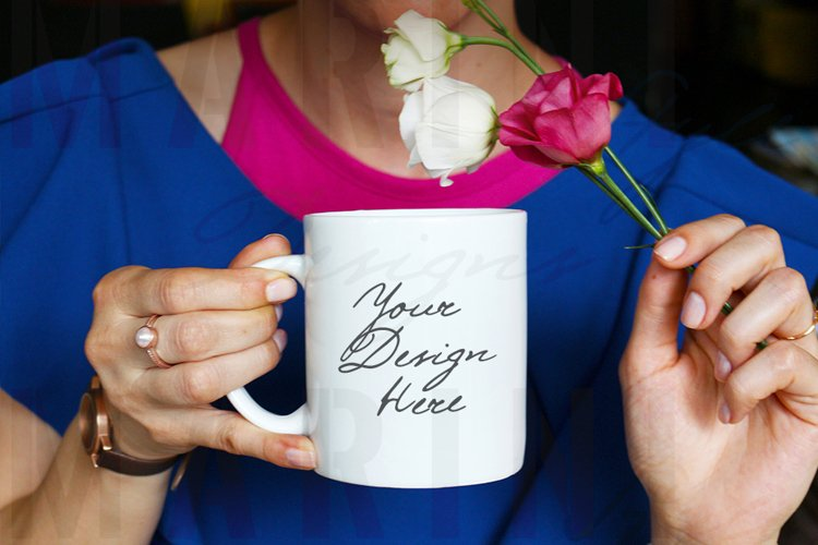 Mug Mockup of Woman with ring holding mug & flowers, 1023