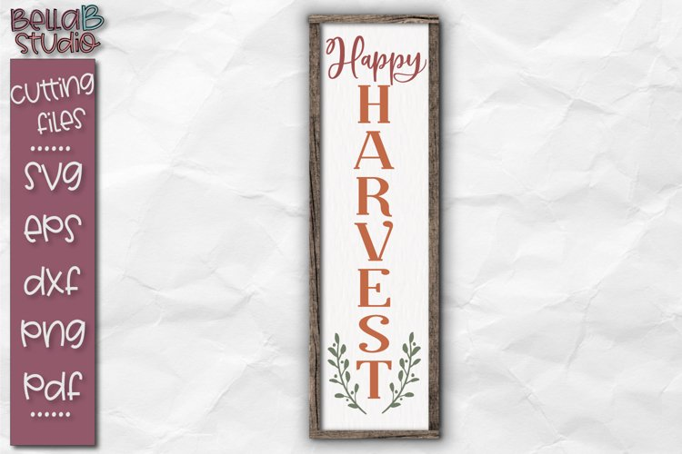 Happy Harvest SVG File, Fall Autumn Sign SVG File example image 1