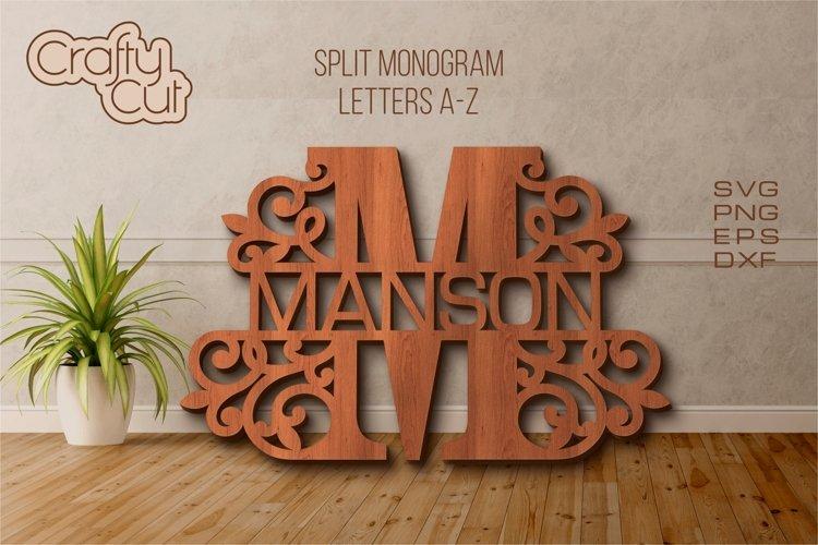 Split monogram. Split Letters A-Z. Monogram SVG files.