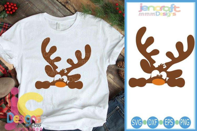 Peeking Boy Reindeer SVG - Christmas SVG cut file