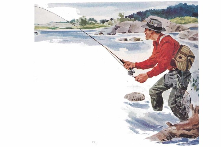 Vintage Fly Fishing Man, Art Print, Sublimation PNG, River