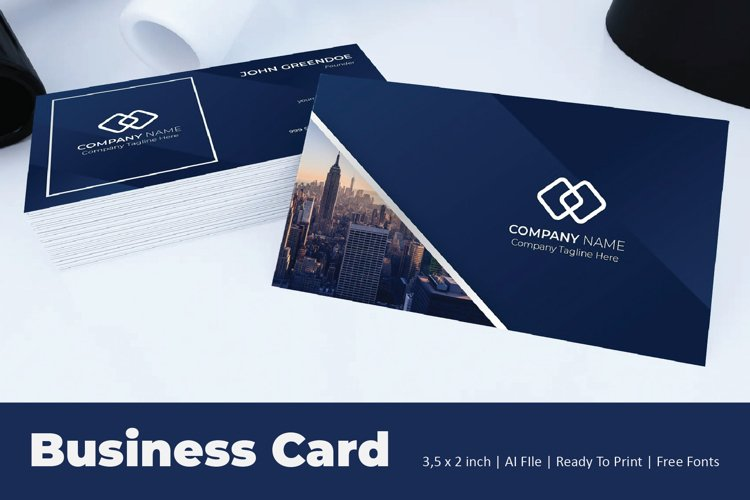 Block Blue Business Card Template