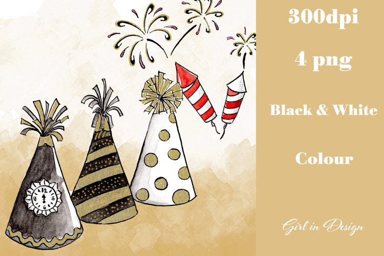 New Year Hats and Fireworks Decoration Clipart example image 1