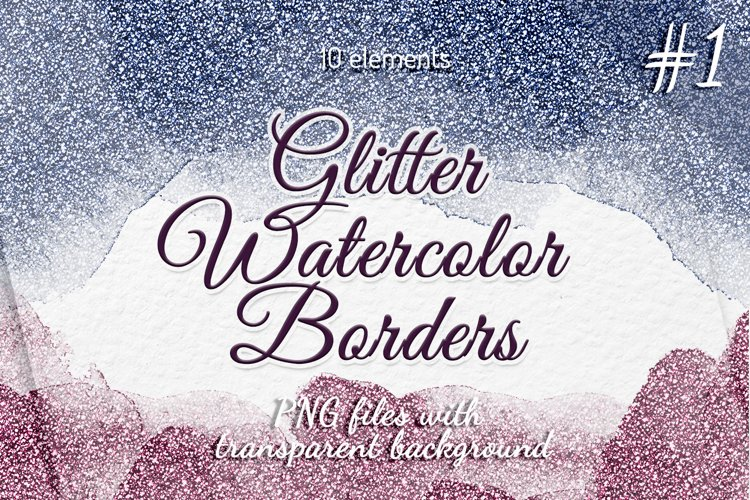 Glitter borders clipart Frames Watercolor borders example image 1