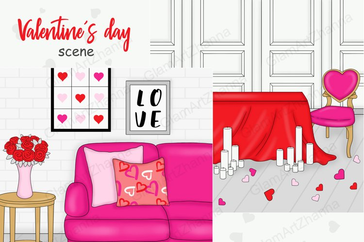 Valentine's Day SCENE Love Heart Graphics for Planner PNG example image 1