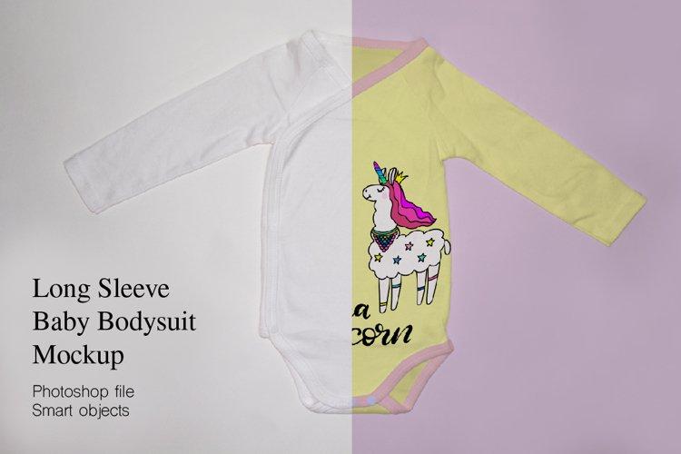 Long Sleeve baby bodysuit, onesie Mockup. example image 1