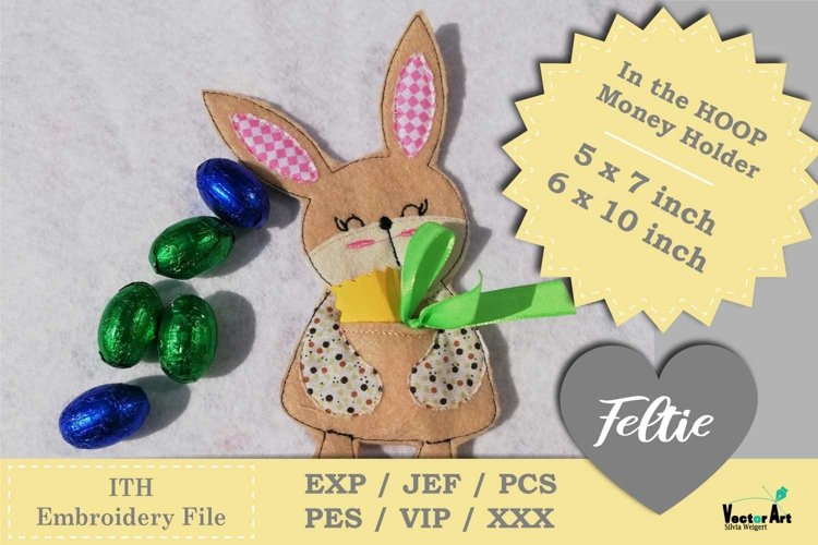 ITH - Money Bunny Gift holder - Embroidery File example 1