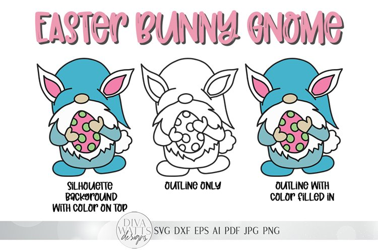 Easter Bunny Gnome With Egg SVG   4 Variations Included