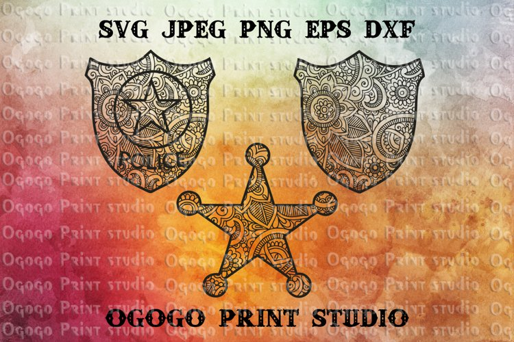 Police badge SVG, Zentangle Svg, Mandala Svg, Sheriff badge