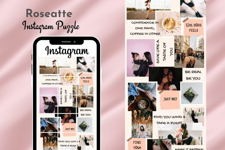 Instagram Puzzle Template Canva- Roseatte example image 1
