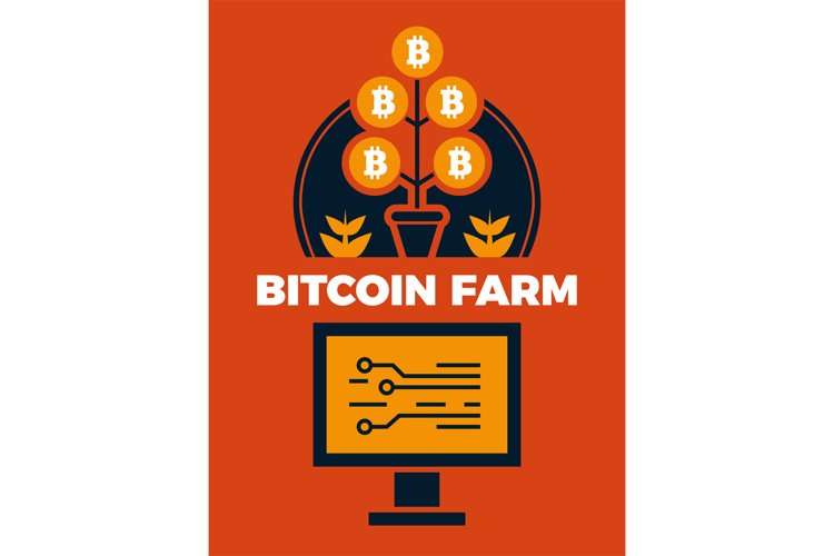 Financial concept illustration of bitcoin farm example image 1