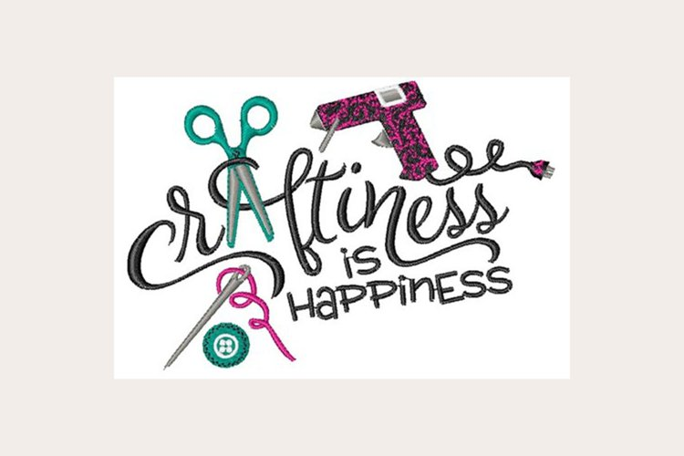 Craftiness Is Happiness - Machine Embroidery Design example image 1