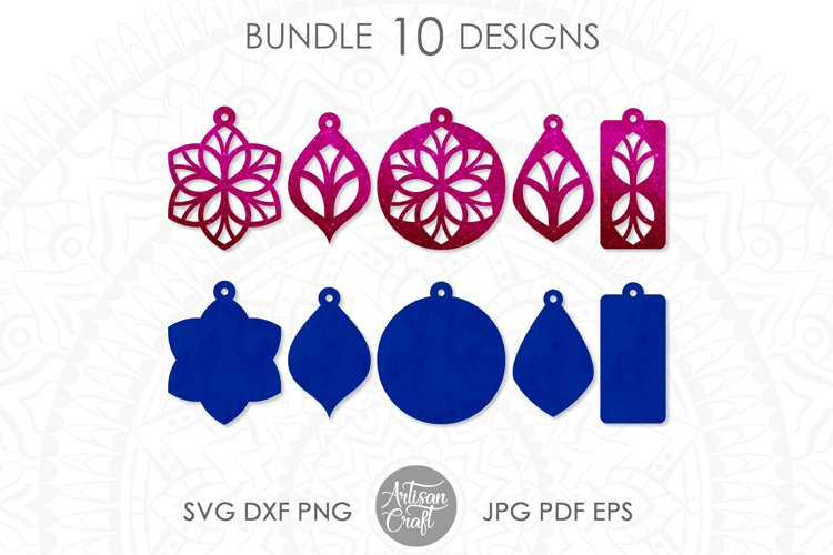 Earring template SVG, Floral earrings SVG example image 1