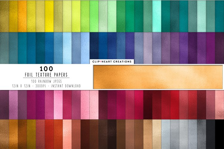 100 Foil Digital Papers in Rainbow Colors example image 1