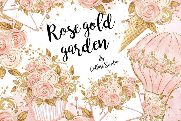 Floral clipart, Watercolor roses, rosegold flowers example image 1