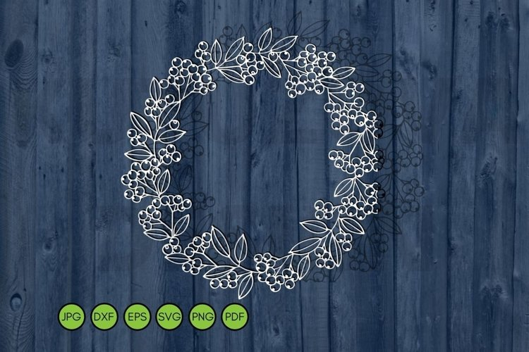 Autumn Wreath SVG. Falling leaves, berries svg cutting file example image 1
