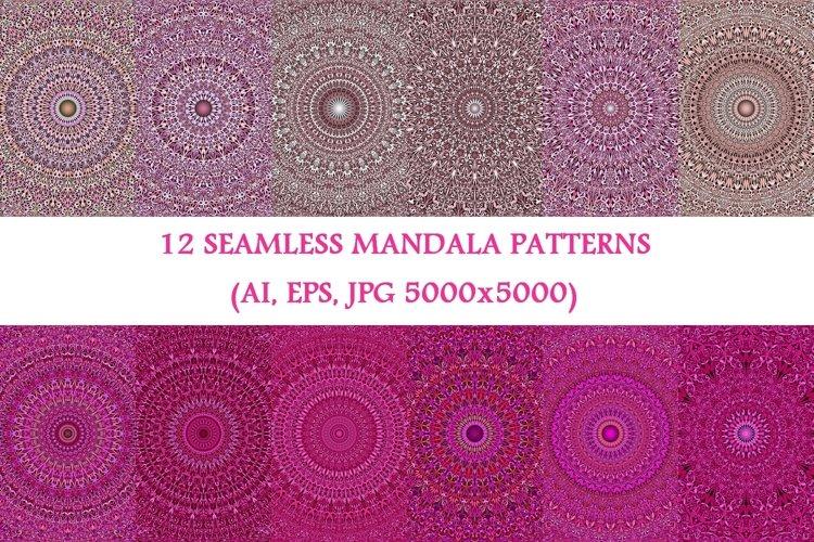 12 Pink Mandala Seamless Patterns - AI, EPS, JPG 5000x5000 example image 1