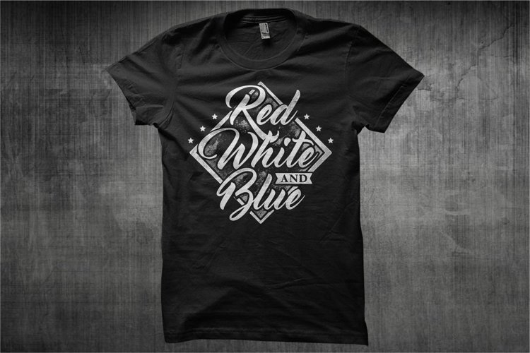 Typography American Themes - Red White And Blue