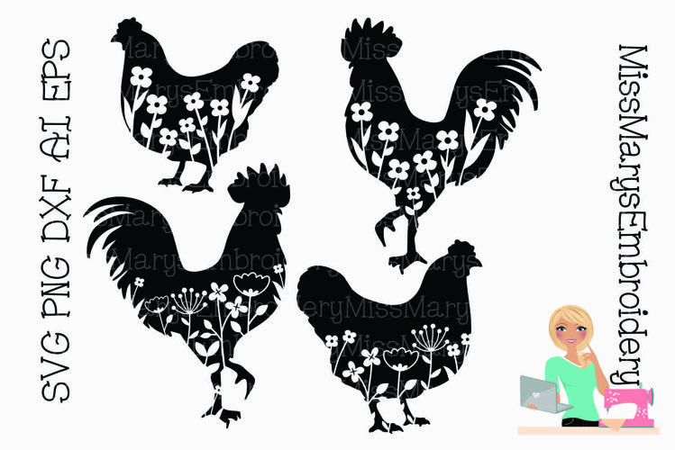 Floral Rooster SVG | Flower Chicken SVG | Farmhouse SVG example image 1