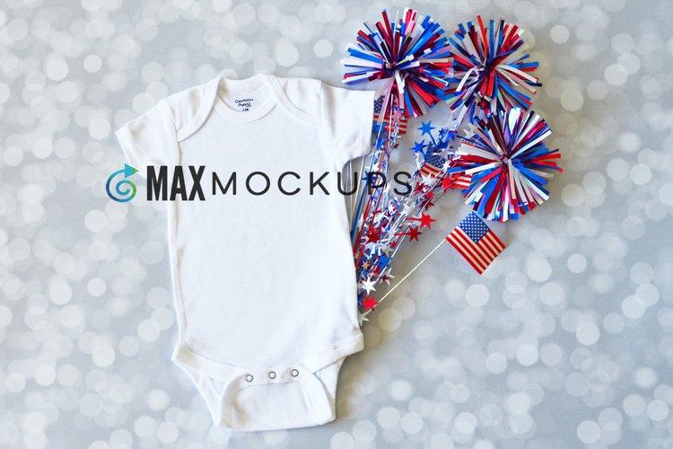 Patriotic Baby Bodysuit Mockup, July 4th Independence