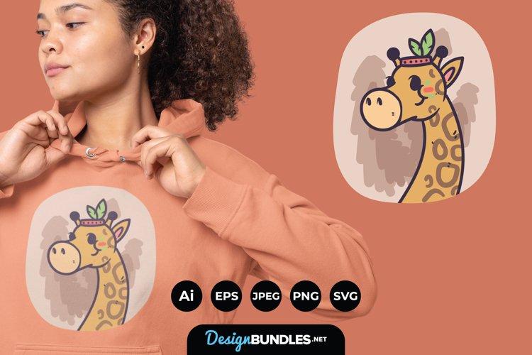Cute Boho Giraffe Illustrations for T-Shirt Design